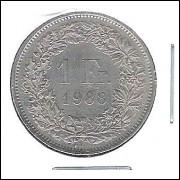 Suíça, 1 Franc, 1988, cuproníquel, s/fc.
