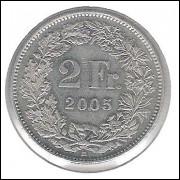 Suíça, 2 Francs, 2005, cuproníquel, fc.