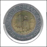 San Marino, 500 Lire, 1993, bimetálica, soberb.