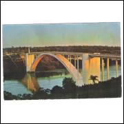 FI03 - Cartão postal antigo, Foz do Iguaçu, Ponte da Amizade, Porto Stroessner.