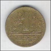 1954 - 1 Cruzeiro, bronze-alumínio, bc.