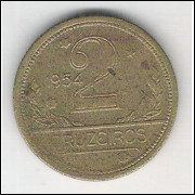 1954 - 2 Cruzeiros, bronze-alumínio, mbc.