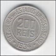 1934 - Brasil, 200 Réis, cuproníquel, mbc/s.