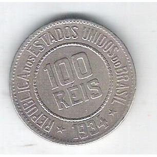 1934 - Brasil, 100 Réis, cuproníquel, soberba.