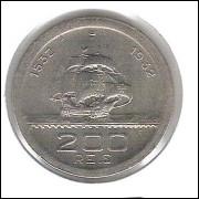 1932 - Brasil, 200 Réis, Comemorativa 4o Centenário da Colonização. cuproníquel, FC. Caravela.