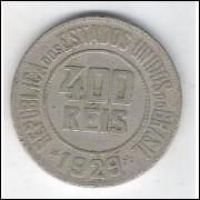 1929 - Brasil, 400 Réis, cuproníquel, mbc.