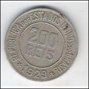 1929 - Brasil, 200 Réis, cuproníquel, mbc.