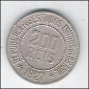 1927 - Brasil, 200 Réis, cuproníquel, mbc.