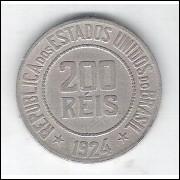 1924 - Brasil, 200 Réis, cuproníquel, mbc++.
