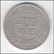 1922 - Brasil, 400 Réis, cuproníquel, mbc+.