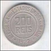1922 - Brasil, 200 Réis, cuproníquel, mbc.