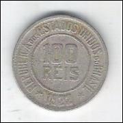 1922 - Brasil, 100 Réis, cuproníquel, mbc.