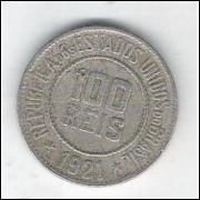 1921 - Brasil, 100 Réis, cuproníquel, mbc.
