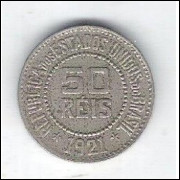 1921 - Brasil, 50 Réis, cuproníquel, mbc.