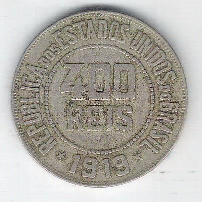 1919 - Brasil, 400 Réis, cuproníquel, mbc.