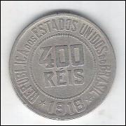 1918 - Brasil, 400 Réis, cuproníquel, mbc.