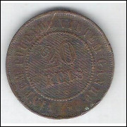 1906 - Brasil, 20 Réis, bronze, mbc.