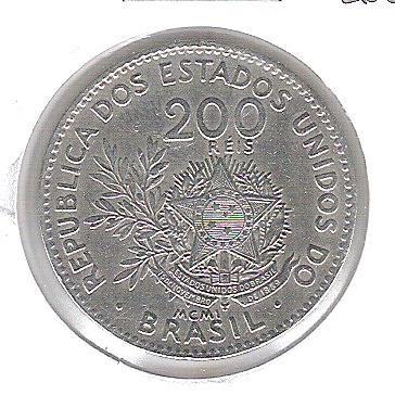 1901 - Brasil, 200 Réis, cuproníquel, soberba.