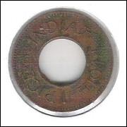 Índia, 1 Pice 1944, bronze, furada, mbc.