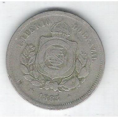 1883 - Brasil-Império, Dom Pedro II, 100 Réis, cuproníquel, bc/mbc.
