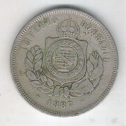 1887 - Brasil-Império, Dom Pedro II, 200 Réis, cuproníquel, bc/mbc.