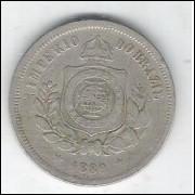 1889 - Brasil-Império, Dom Pedro II, 100 Réis, cuproníquel, mbc.
