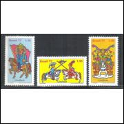 1977 - C-0999-1001 - Folclore brasileiro - Cavalhada.