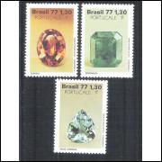 1977 - C-1016-18 - Pedras Preciosas-Mineralogia-Exposição Filatélica. Topázio-Esmeralda-Água Marinha