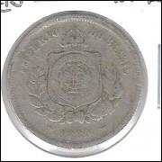 1880 - Brasil-Império, Dom Pedro II, 100 Réis, cuproníquel, bc/mbc.