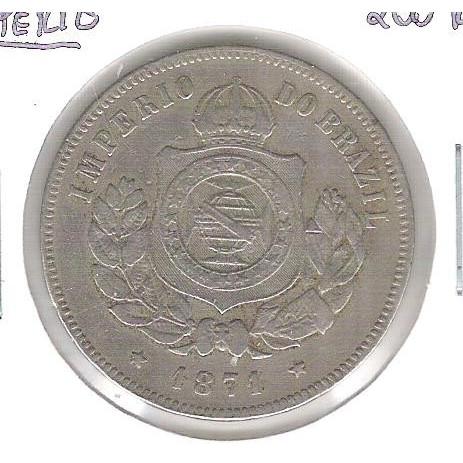 1871 - Brasil-Império, Dom Pedro II, 200 Réis, cuproníquel, mbc.