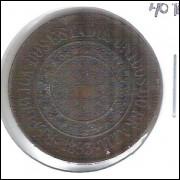 1893 - Brasil, 40 Réis, bronze, mbc