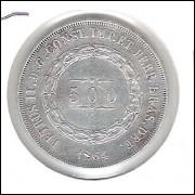1864 - 500 Réis, prata, mbc/s, Brasil-Império, Dom Pedro II.