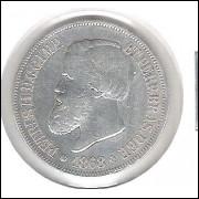 1868 - 500 Réis, prata, mbc, Brasil-Império, Dom Pedro II.
