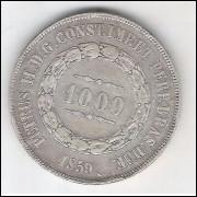 1859 - 1000 Réis, prata, mbc/s, Brasil-Império, Dom Pedro II.