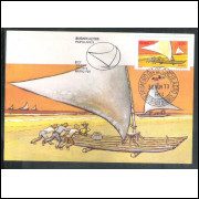 max009 - 1973  - Embacações - Jangada. Com carimbo comemorativo e 1o dia.