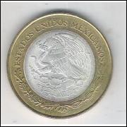 México, 20 Novos Pesos, soberba, bimetálica, centro de PRATA .925 Diâmetro: 32 mm 16,9 g
