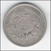 1877 - Brasil-Império, Dom Pedro II, 100 Réis, cuproníquel, mbc.