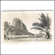 RJ130 - Foto Postal antiga, Rio de Janeiro, Praia Vermelha e Pão de Acúcar.