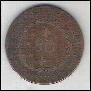 1830 R - Brasil-Império, Dom Pedro I, 80 Réis, cobre, mbc++