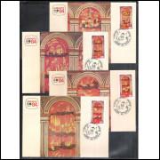 max094-7 - 1984 Lubrapex - Exposição Filatélica. Pinturas Chinesices. Catedral de Mariana. Religião.