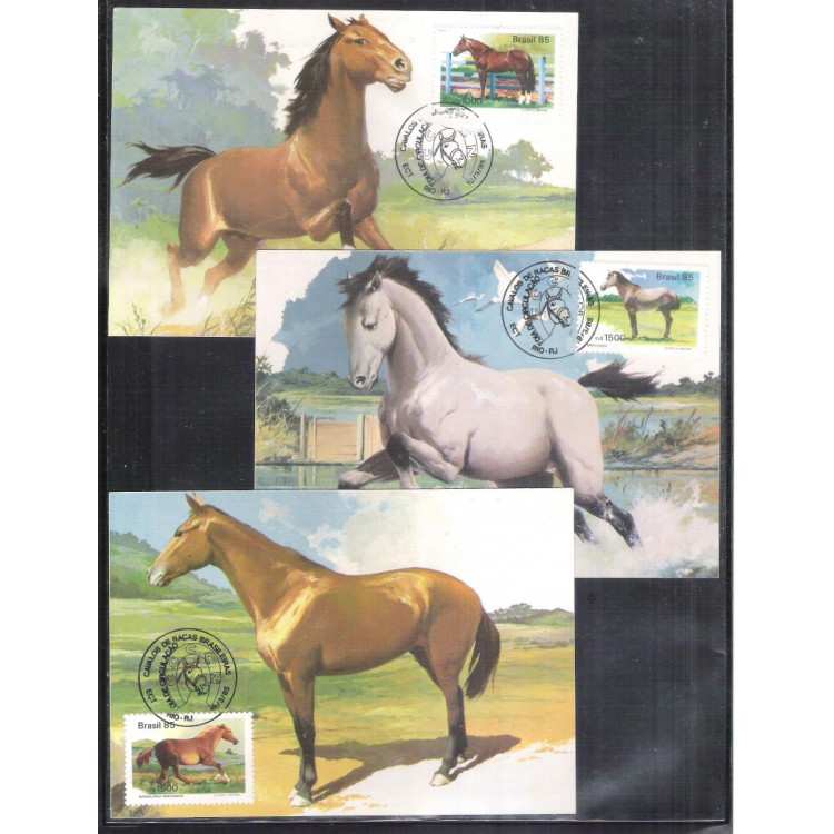 max107-9 - 1985 Cavalos Raças Brasileiras: Campolina, Marajoara e Mangalarga.