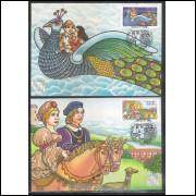 max130-1 - 1986 Lubrapex - Exposição Filatélica. Folclore. Imperatriz Porcina e Pavão Misterioso.