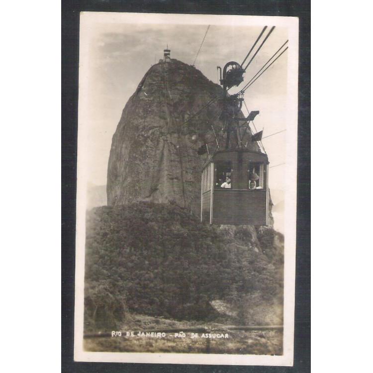 RJ135 - Postal antigo Rio de Janeiro - Pão de Açúcar - bondinho.
