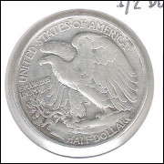 Estados Unidos, Half Dollar, 1/2 dólar 1939, prata, Walking Liberty, mbc.