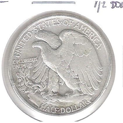 Estados Unidos, Half Dollar, 1/2 dólar, 1944, prata, Walking Liberty, mbc.