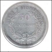 Uruguai, 50 Centesimos, 1877 A, mbc, prata .900. 12,5 g