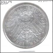 Alemanha (Prússia), 3 Mark 1912, Guilherme II, s/fc. Prata .900 - 16,6 g - 33 mm.