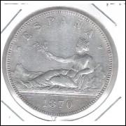 Espanha, 5 Pesetas 1870. Prata .900 - 25 g - 37 mm. soberba