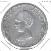 Espanha, 5 Pesetas 1889. Prata .900 - 25 g - 37 mm. soberba