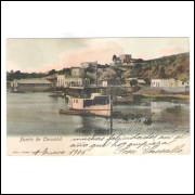 CR01 - Postal circulado 1905 Porto de Corumbá.